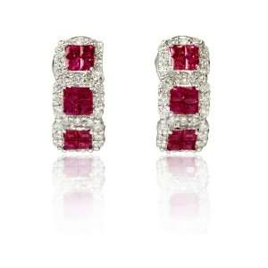 Diamond and Ruby 18k White Gold Huggie Earrings Jewelry