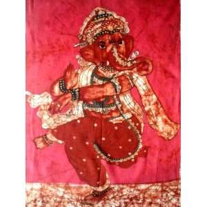 Indian Elephant Face God Lord Ganesh Ganesha Dancing Fabric Tapestry