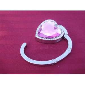 NEW Baby Pink Crystal Heart Shape Handbag Hook Purse Hanger Wedding