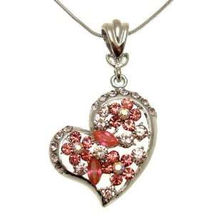 Acosta Jewellery   Rose Pink Floral Crystal   Heart Fashion Necklace