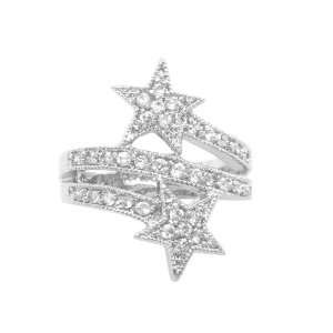 Jewelry Silver Tone Cubic Zirconia with Two Star Ring Ship in Gift Box