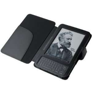 Black Leather Cover Case for Kindle 3 (3rd Third Generation 6 Kindle