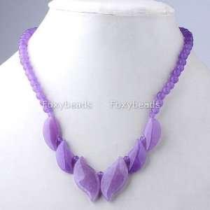 JADE NECKLACE   18 Purple Jade Gemstone Leaf Pendant Beads Necklace