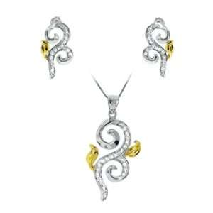 With Gold Plated Leaf Accents Pendant Necklace and Stud Earrings Set