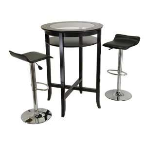 Pub Table with Glass Center Top and  2  Air Lift Stools