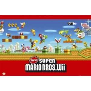Super Mario Bros Nintendo Wii Video Game Poster 24 x 36