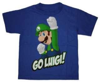 Super Mario Go Luigi Blue T shirt for Boys Clothing