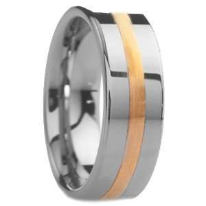mm Mens Tungsten Carbide Rings Wedding Bands Round Design with Gold