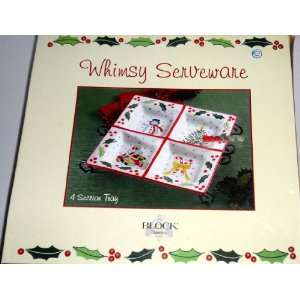 Christmas Theme 4 Section Tray with Metal Stand