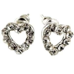 Handmade Pierced Heart Clear Crystal Earrings Stud