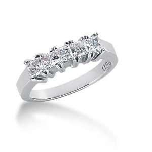 14K Gold Diamond Anniversary Wedding Ring 5 Princess Cut Diamonds 0.85