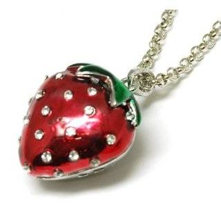 New 925 Sterling Silver Red Strawberry Pendant Necklace Jewelry