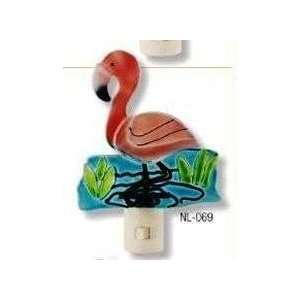 Tropical Pink Flamingo Night Light Art Glass Decor