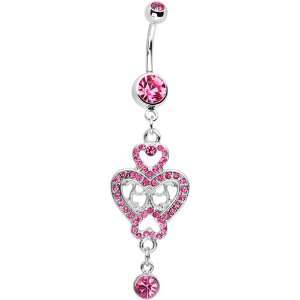 Pink Gem Affair of the Heart Belly Ring