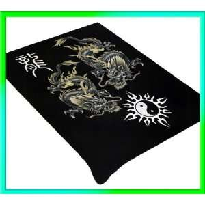 Dragon And Yin Yang Soft Plush Mink Blanket Full/Queen