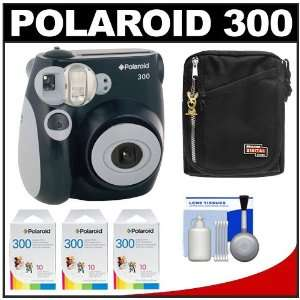 Polaroid PIC 300B Instant Film Analog Camera (Black) with (3) Polaroid