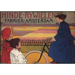 BICYCLE BIKE CYCLES AMSTERDAM NETHERLANDS HOLLAND VINTAGE POSTER REPRO