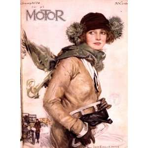 : Poster Feb 1924 Motor magazine girl holding skates: Home & Kitchen
