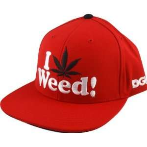 Dgk I Love Weed Hat Adjustable Red Snap Back Skate Hats: