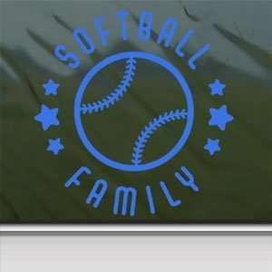 Softball Family Blue Decal Car Truck Bumper Window Blue