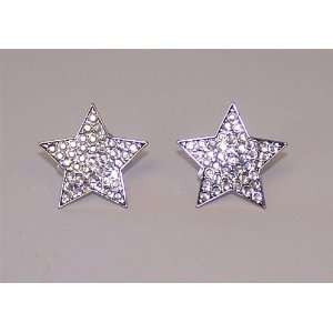 Silver Star Golf Crystal Ball Marker Earrings Sports