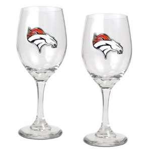 NIB Denver Broncos NFL 2pc Team Wine Glass Cup Set