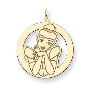 Gold Plated Sterling Silver Disney Cinderella Round Charm Jewelry