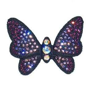 Black Butterfly Pin Violet White Swarovski Crystals Brooch