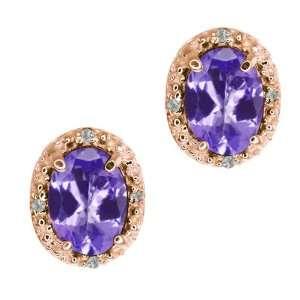 Blue Tanzanite Mystic Topaz and Topaz 18k Rose Gold Earrings Jewelry