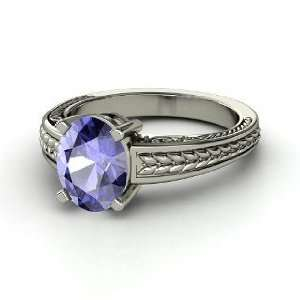 Oval Ceres Ring, Oval Tanzanite 14K White Gold Ring Jewelry