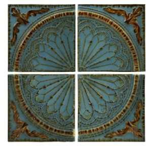 IMAX Blue Quarter Medallion Wall Panels, Set of 4: Home