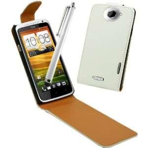 HTC One X   Cream White Specially Designed Leather Flip Case & Screen