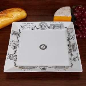 Alabama Crimson Tide White Signature Etched Serving Platter