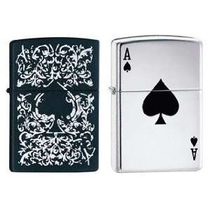 Zippo Lighter Set   Lucky Ace and Black Matte Ace, Pack of