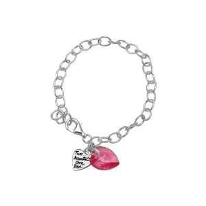 Pink Swarovski Heart and Two Hearts One Love Heart Charm Bracelet