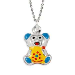 .925 Sterling Silver Yellow Red Blue Teddy Bear Pendant Jewelry