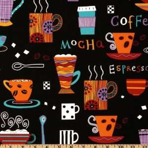 44 Wide Coffee Shop Mugs Black Fabric By The Yard Arts