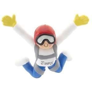 Personalized Skydiver Male Christmas Ornament