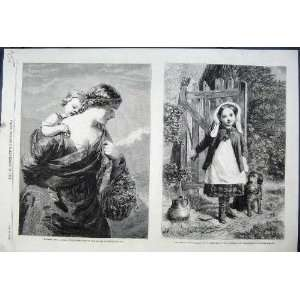 1861 British Artists Girl Puppy Dog Mother Child Basket