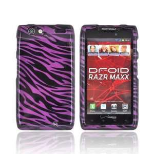 For Motorola Droid RAZR MAXX Purple Black Zebra Hard Plastic Snap On