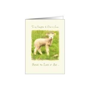 to my Daughter and Son in Law, Christian Easter card, John