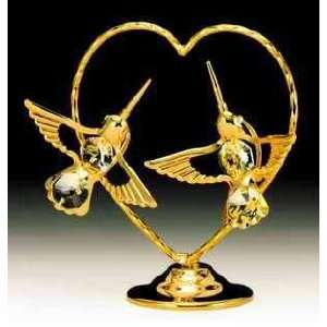 Hummingbird Heart Gold Plated Swarovski Crystal Figure