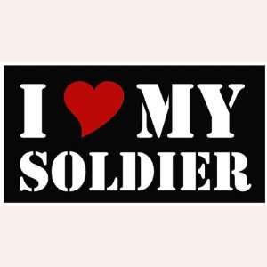 I Love My Soldier With Red Heart White Vinyl Car Truck