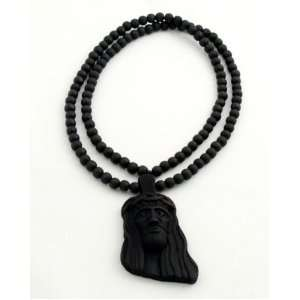 Black Wooden 3D Jesus Pendant with a 36 Inch Beaded Necklace Chain
