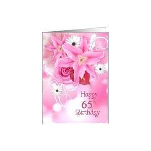 65th birthday, pink, lily, rose, bouquet, daisy Card : Toys & Games
