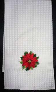 CHRISTMAS POINSETTIA ON WHITE COTTON WAFFLE DISH TOWEL