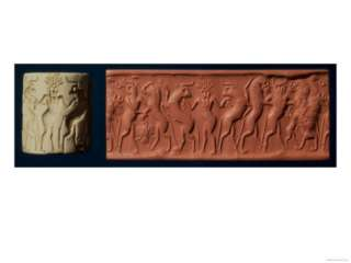 Early Dynastic II Seal of Hero and Bull Man Fighting Lions, 2650 BC