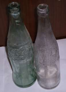 VTG PEPSI COLA CLEAR GLASS BOTTLE & VTG COCA COLA CLEAR GLASS BOTTLE