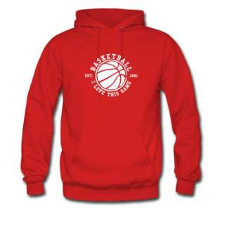 Rosso Basketball   i love this game Pullover  Felpa con cappuccio da