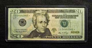 Series 2006 $20 Dollar Bill STAR NOTE IG 04440965*